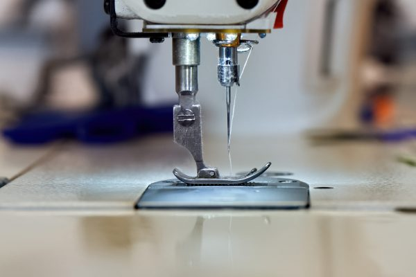 Sewing machine and white thread